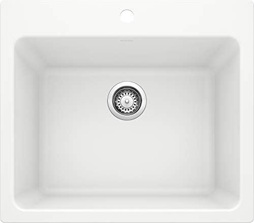 BLANCO, White 401927 LIVEN SILGRANIT Drop-In or Undermount Utility Laundry Sink, 25' X 22'