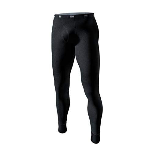 Degrees of Comfort Long Johns Thermal Underwear for Men | 100% Cotton with Diamond Fit Tech | Breathable Warm Base Layer Bottoms for Ski Hiking Camping Essentials Gear, Black Small