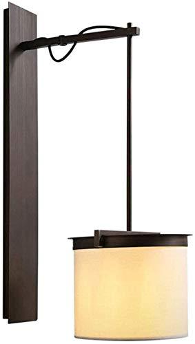 Lámpara industrial, Lámpara de pared de tela de hierro forjado, luz de pared de eje giratorio ajustable, sala de té tatami zen wall sconte, lámpara de noche de dormitorio industrial retro para sala de