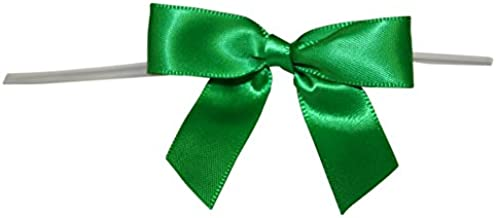 Reliant Ribbon Satin Twist Tie Small Bows, 5/8 Inch X 100 Pieces, Emerald Green