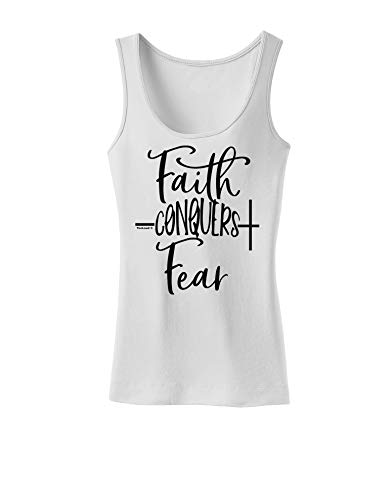 TOOLOUD Faith Conquers Fear Coronavirus Covid 19 Womens Petite Tank Top White XS
