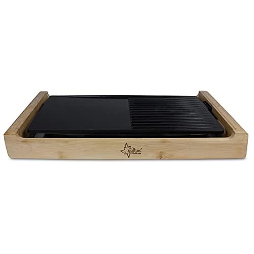 SUNTEC Tischgrill TGR-7017 bamboo – Natürliches Bambus Design – Elektrisch grillen am Tisch indoor & outdoor – Mit Antihaft Grillfläche – Gut für Fisch + Fleisch + Gemüse – Elektrogrill ohne Rauch