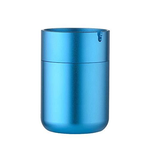 Asbak aluminiumlegering asbak - geschikt voor thuis/auto/multifunctioneel/vakantie geschenk/draagbaar/slaapkamer/nachtkastje, enz. Zwart Blauw-7X10.4cm