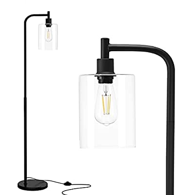 Addlon LED Floor Lamp, with Hanging Glass Lamp Shade and LED Bulb for Bedroom & Living Room, Modern Standing Industrial Lamp Tall Pole Lamp for Office, Classical Black