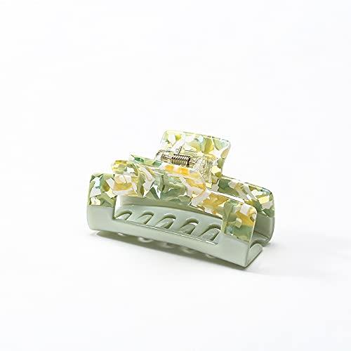 【大人可愛い ヘアクリップ 】 ヘアアクセサリー バンスクリップ 髪留め クリップ 韓国 光沢感 結婚式 オフィス キッチン テレワーク 大きめ しっかりまとまる ギフトボックス付き Alpha Muse (Green)