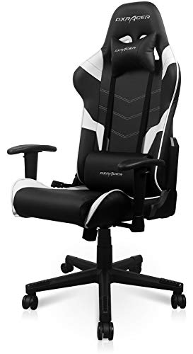 DXRacer P Series Entry-Level Office Executive, Video Game Chair   Ergonomic Head Pillow and Lumbar Support, Standard, Black and White