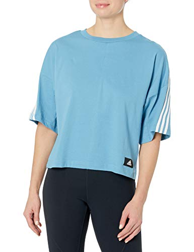 adidas womens 3-Stripes Tee Hazy Blue/Crew Navy Small