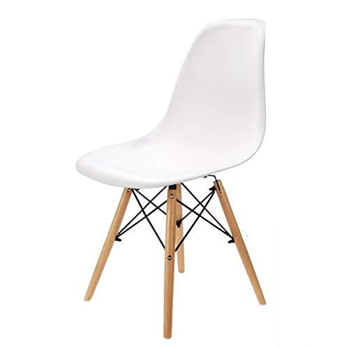 PPCAK Un Conjunto de 6 sillas de Comedor Medievales, sillas de plástico pies metálicos, Adecuado para Cocina Comedor. (Color : White)