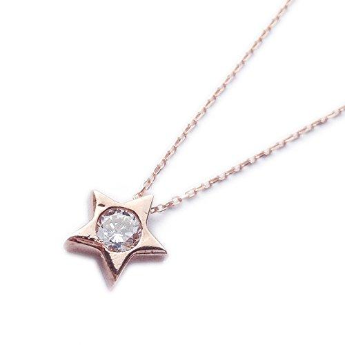 ASS - Ciondolo in oro 585 a forma di stella con catenina, set gioielli con zircone bianco