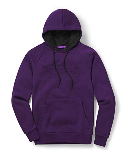 Twitch Puff Logo Embossed Pullover Hoodie with Durable Drawstrings and Fashionable Design for Online Live Video Streamers and Gamers – Purple (Medium)