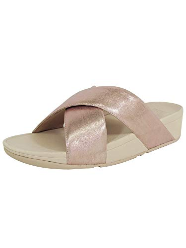 FitFlop Womens Lulu Cross Glitz Slide Sandal Shoes, Rose Gold, US 9