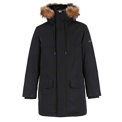 HiiWorld Men's Winter Fur Collar Hooded Long Down Jacket Hoodie Outerwear Parka Coat Black