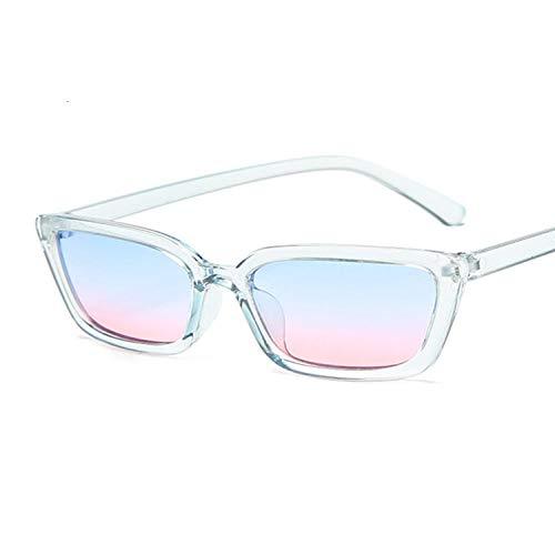 DLSM Moda Small Square Gafas de Sol Femenino Vintage Gato Gafas de Sol Gafas de Sol para Mujer Ocean Lens Espejo Adecuado para Playa, Golf, Viajes al Aire Libre-Azul Rosado