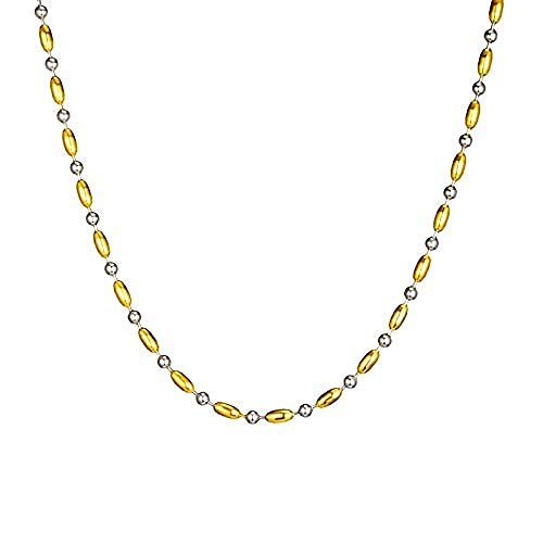 NC190 Hip Hop 4 mm de Ancho de Acero Inoxidable Collar de Dos Colores con Cuentas Collar de Acero Inoxidable 316L Collares para Hombres joyería
