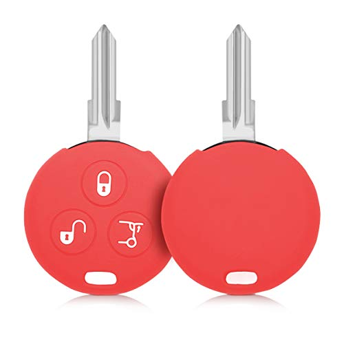 kwmobile Accessoire clé de Voiture Compatible avec Smart 3-Bouton - Coque en Silicone Souple pour Clef de Voiture Rouge