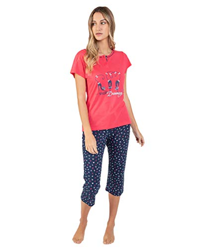 Massana Pijama de Mujer Estampado Pantalon Pirata P211207 - Fucsia, M