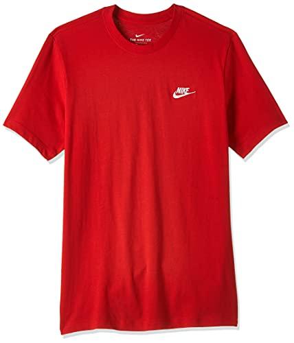 NIKE M NSW Club tee Camiseta de Manga Corta, Hombre, University Red/White, L
