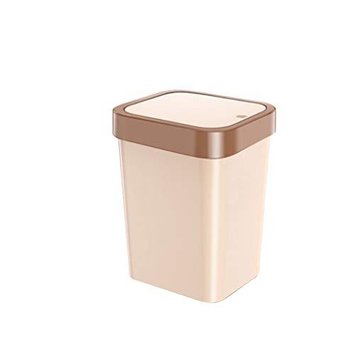 Papelera de plástico con tapa, interruptor de botón de sellado automático, cubo de reciclaje, basura de hotel, sala de estar (color: blanco y marrón, tamaño: A)