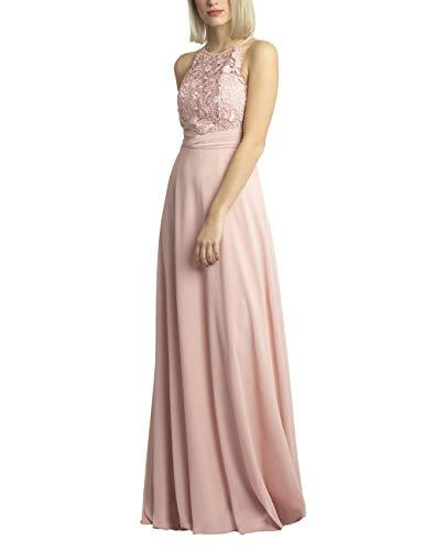 APART Bezauberndes Damen Kleid lang, Abendkleid, Ballkleid, transparente Spitze teilweise Blickdicht unterlegt, Empire Style, rosé, 38