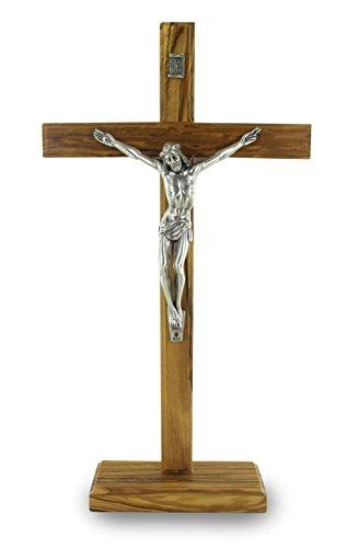 Ferrari & Arrighetti Crucifijo de Mesa con Base en Madera de Olivo con Cristo en Metal Oxidado - 32 cm