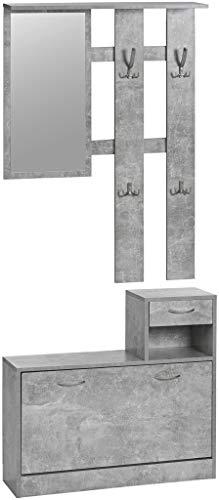 ts-ideen Parete attrezzata da Ingresso stile moderno Panchetta Portascarpe ad anta basculante con vano porta accessori, Specchio e doppio appendiabiti. Grigio Cemento
