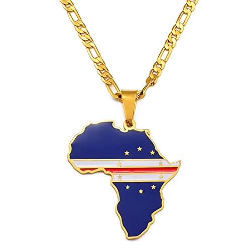 LIUZIXI Afrika Karte Anhänger Halskette - Trendy Charm African Cabo Verde Country Maps National Flag Anhänger - Für Frauen Männer Hip Hop Fre&schaft Ethnische Schmuck Jubiläumsgeschenk,Gold