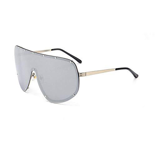 Modische Sonnenbrille Übergroße Sonnenbrille Frauen Randlose Tönung Brillengläser Klare Brille Frauen Siamesische Linse Brillen Nägel Steampunk Sonnenbrille C6