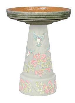 In the Garden and More Replacement Birdbath Bowl Top for Hummingbird Handcrafted Clay Birdbath