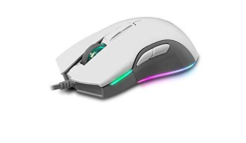 Newskill Eos Ivory Mouse da gaming professionale con illuminazione RGB, 16000 dpi e sensore ottico Pixart PMW 3360 - colore bianco