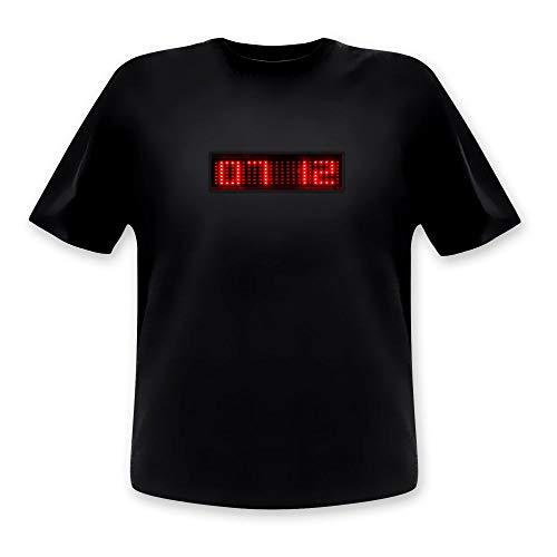 Unisex LED-Shirt Lauftext & Uhrzeit rot Größe M