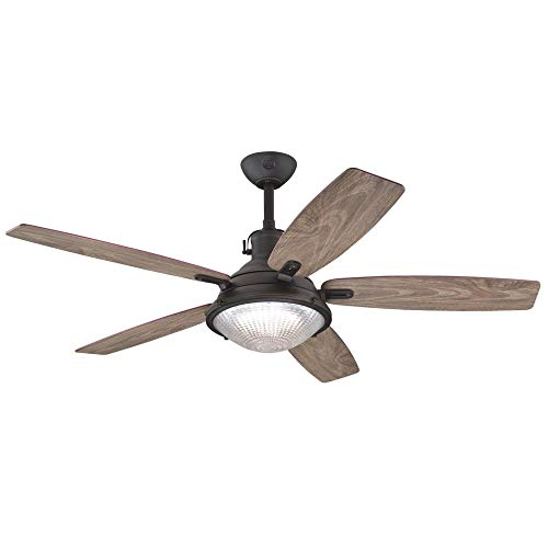 Westinghouse Lighting 7226700 Crescent Cove, Vintage Industrial LED Ceiling Fan with Light and Remote Control, 52 Inch, Oil Rubbed Bronze Finish, Clear Prismatic Glass