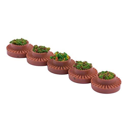 Hellery 1/50 Lits de Fleurs Modèle Bonsaï Plantes Paysage Miniature Creatif pour Table de Sable Scène Train Chemins de Fer