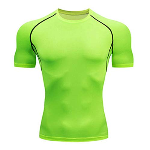 Herren Sportliches Sportshirt, Herren Solid Color Fitness Quick Dry Kurzarmhemd Home Yoga Strumpfhose, Männer Fitness Trainingsshirt Short Sleeve Tee Kurzarm Laufshirt