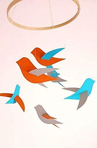 Bebé móvil, 6 pájaros grises/naranjas/azules, círculo de madera, decoración de pájaros, regalo de nacimiento, estilo escandinavo, móvil para cuna