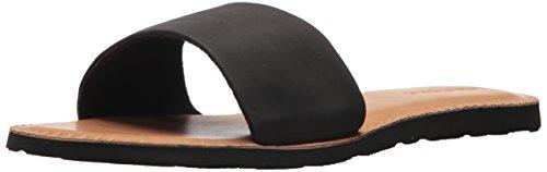 Volcom Women's Simple Synthetic Leather Strap Slide Sandal, Black, 9 B US