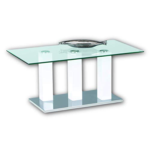 Stella Trading TOWERS Couchtisch Glas in Hochglanz weiß - stylisher Glastisch mit 3-Säulen Gestell für Ihren Wohnbereich - 110 x 48 x 60 cm (B/H/T)