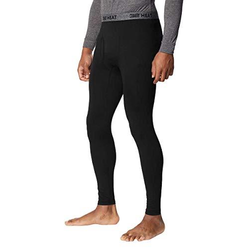 32 DEGREES Mens 2 Pack Heat Performance Thermal Baselayer Pant Leggings, Black/Black, XL