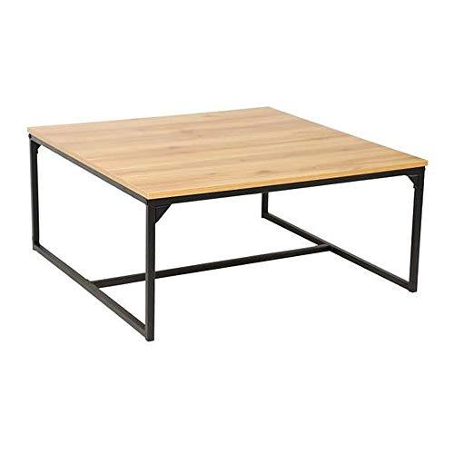 Melko Couchtisch, Wohnzimmertisch, Ablagetisch, Holz Eiche Natur hell, Metallgestell schwarz, rustikal, 80 x 80 cm, große Tischplatte