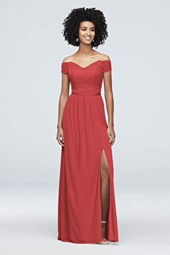 Off-The-Shoulder Lace and Mesh Bridesmaid Dress Style F19950, Guava, 20