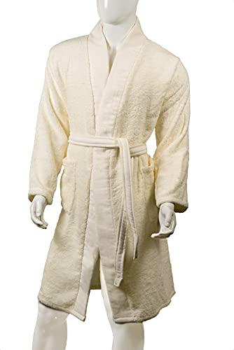 Aymando Scheich Collection - Albornoz unisex de lujo, calidad prémium, 100% algodón egipcio GIZA 86, 520 g/m², color crema, crema, L