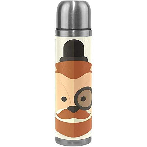 Kaffee Thermoskanne Löwe trägt Monokel Sport isoliert Edelstahl Wasserflaschen auslaufsicher doppelwandige Thermoskanne Lederbezug vakuumisoliert Herren Thermoskanne passt Rucksack Lunchbox 17oz