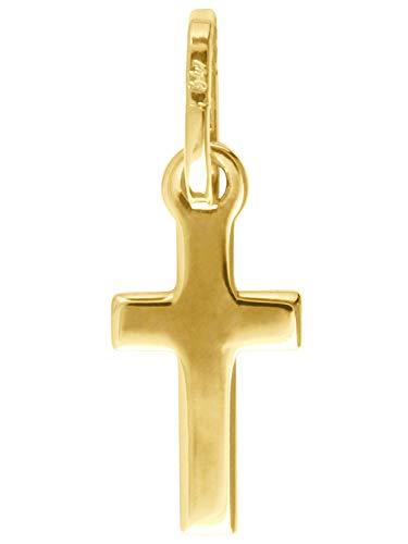 MyGold kruis hanger (zonder ketting) geel goud 750 goud (18 karaat) zonder steen klein 17 mm x 6 mm mini doop geschenken communie gouden kruis hanger gouden kruis kettinghanger Rapallo V0011257