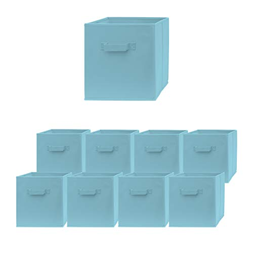 Pomatree Storage Cubes - 9 Pack - Durable and Sturdy Storage Bins with 2 Reinforced Handles   Fabric Cube Baskets for Organizing Closet, Clothes and Toys   Foldable Shelves Organizer (Light Blue)