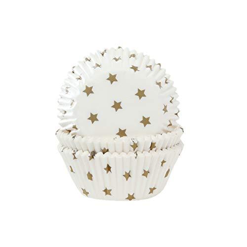 Lot de 50 caissettes à muffins Blanc avec étoiles dorées
