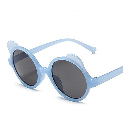 DLSM Redondo para niños Gafas de Sol Chicas Muchachos Dibujos Animados Gafas de Sol Adorables Niños Al Aire Libre Gafas-Azul