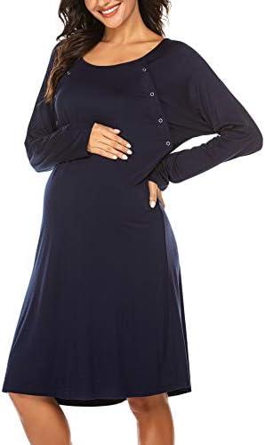 Ekouaer Womens Long Sleeve Nursing Maternity Nightgowns Soft Cotton Hospital Sleepshirt for product image