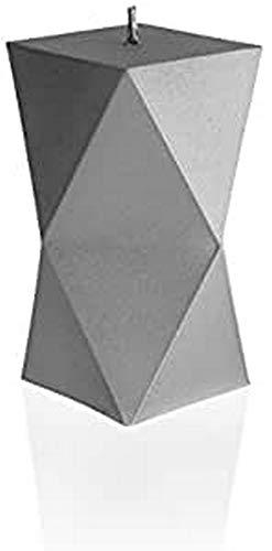Candellana Kerze Geometric   Höhe: 11,3 cm   Grau   Handgefertigt in der EU