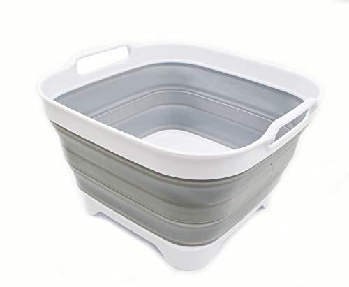 SAMMART - Plato plegable con tapón de drenaje, lavabo plegable para lavar platos portátil, bandeja de almacenamiento de cocina para ahorrar espacio (1, blanco/gris)