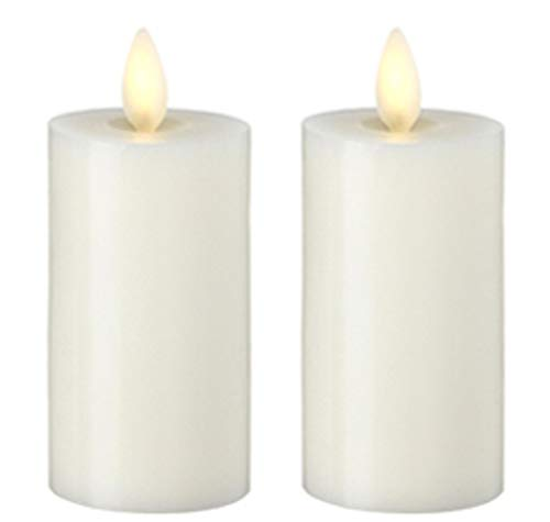 Set of 2 Liown Votive Flameless Candles: 2'x4' Unscented Moving Flame Candles with Timer (Ivory)