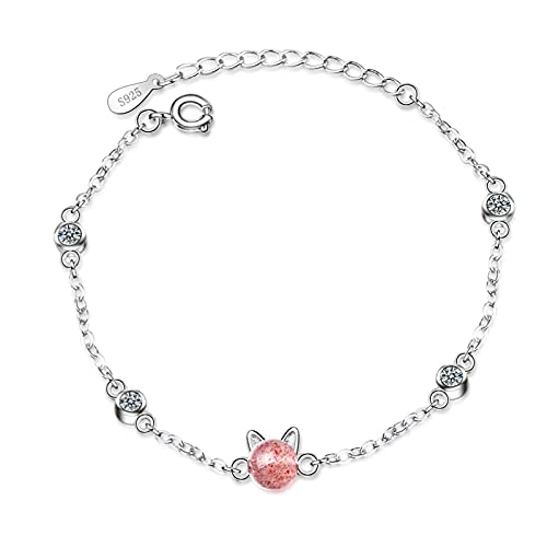 YSJJPQC Bracelets Sweet Little Cat Animal Pink Strawberry Quartz Crystal 925 Sterling Silver Female Bracelets Women Choker Charms Chains (Length : 19cm)